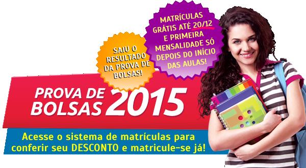 Resultado da Prova de Bolsas de Estudo 2015 - 1º Semestre